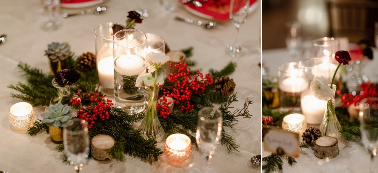 Christmas wedding floral centerpiece