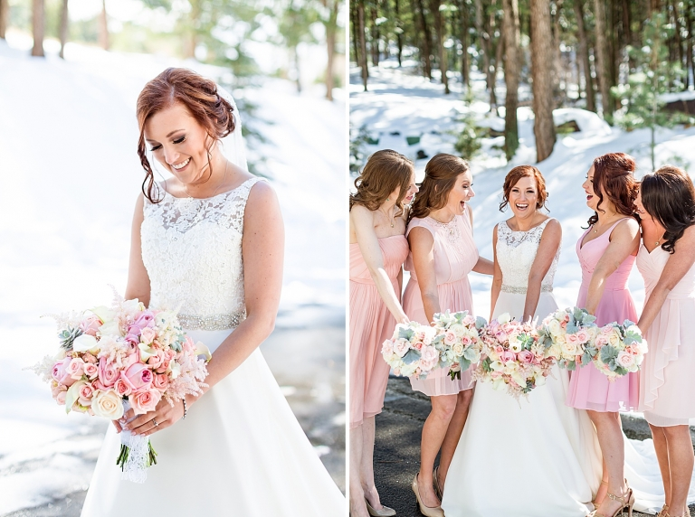 soft pink spring wedding bouquets