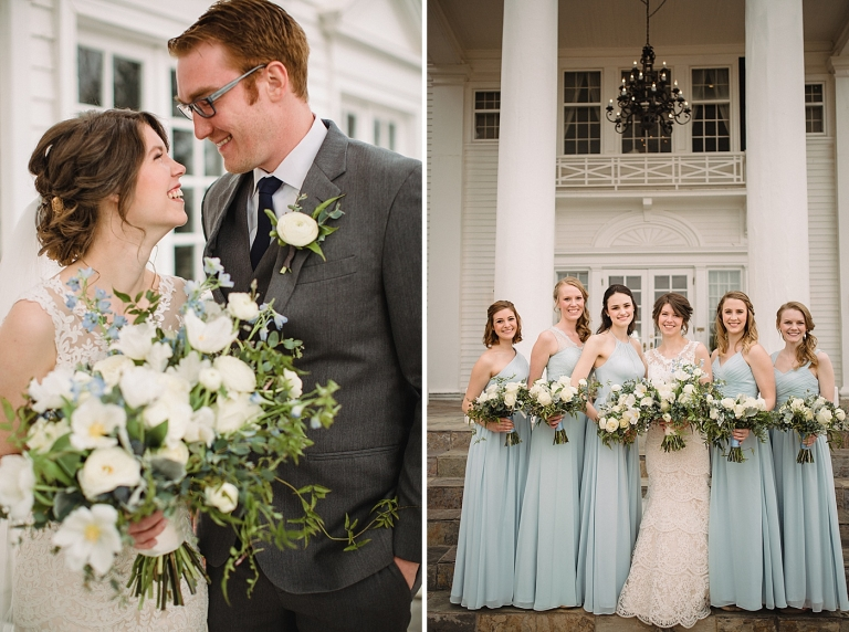 white, blue, and green spring wedding bouquets