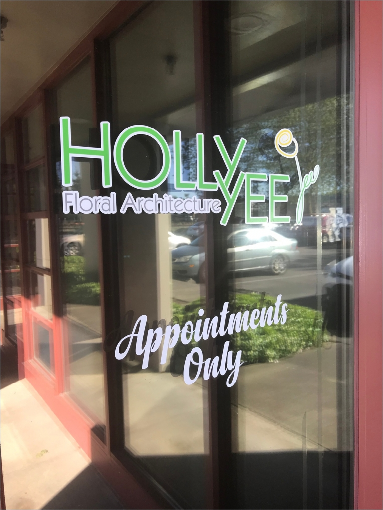 window decal of holly yee floral architecture