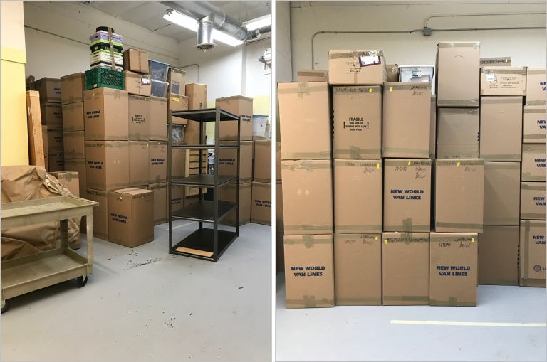 boxes of floral design supplies