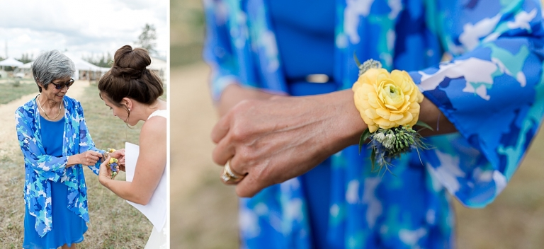 mother of the groom gets a wrist corsage
