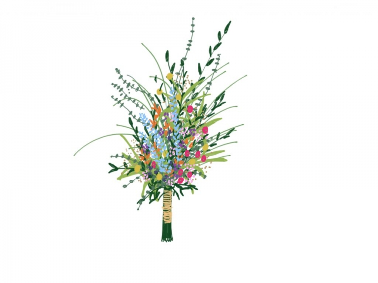 elongated wild flower bridal bouquet