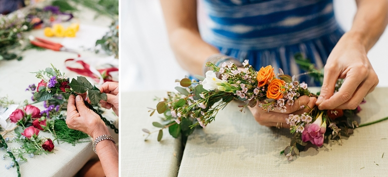 up close of people using their hands to make flower crowns