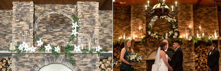 winter wedding ceremony near a fireplace