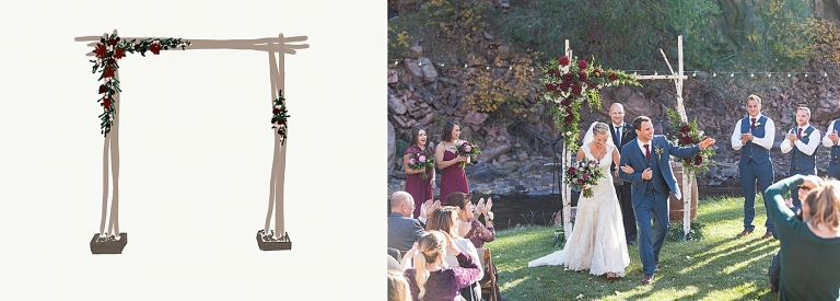 ceremony arch with red flowers and greenery