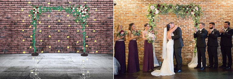wedding ceremony floral backdrop