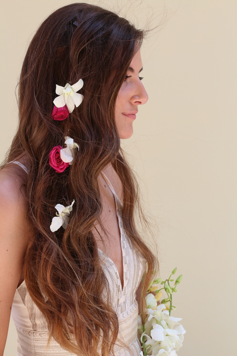 orchids in a bride's hair