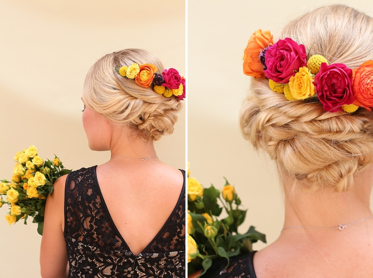 colorful flowers in a bridal up-do