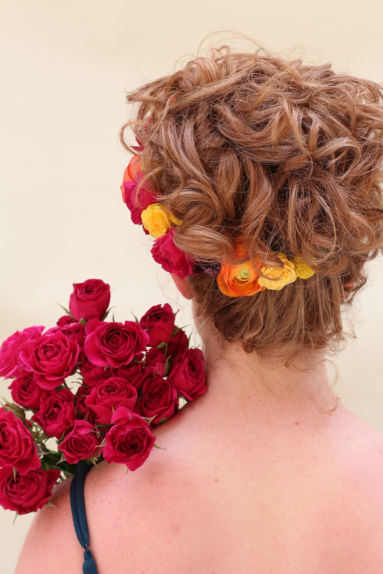 colorful flowers in an up-do