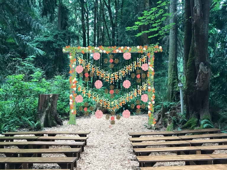 ceremony flowers hanging from arch