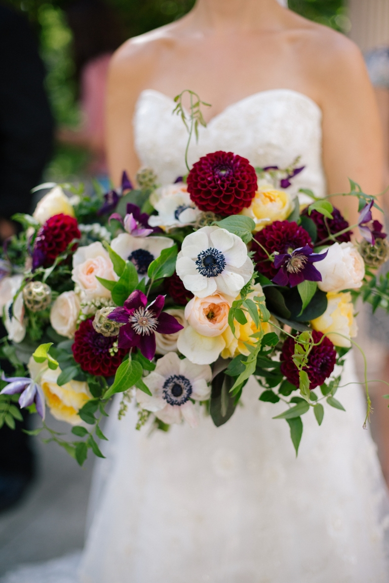 colorful bridal bouquet with burgundy dahlias
