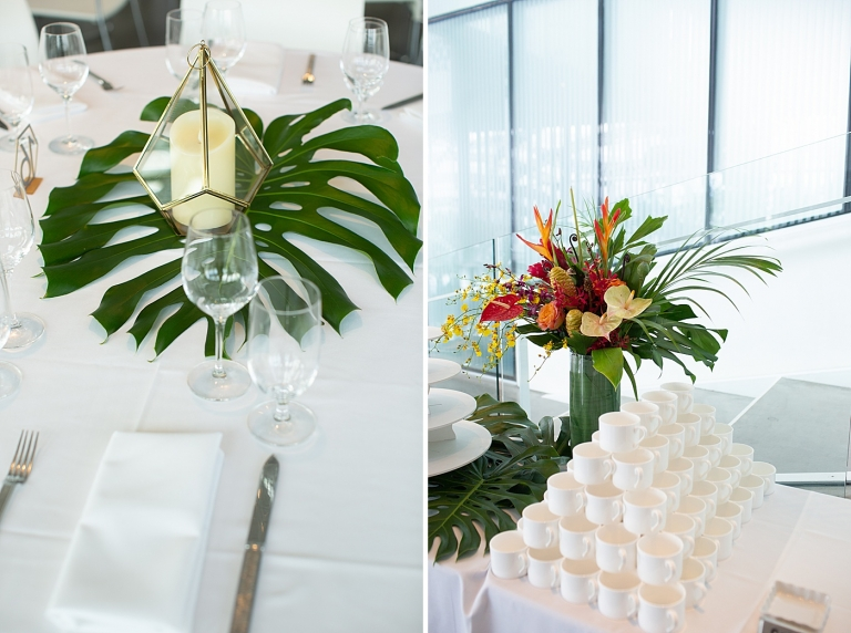 tropical arrangement on a welcome table