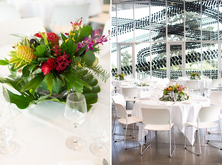 tropical centerpieces on white tables