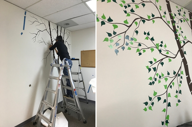 applying a tree decal on a wall