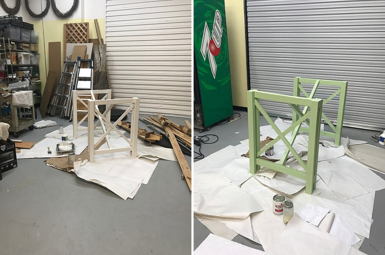 painting table legs green
