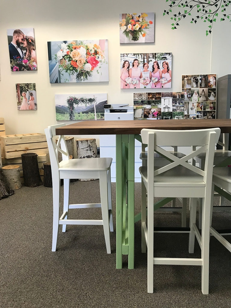 wedding floral consultation table with green legs