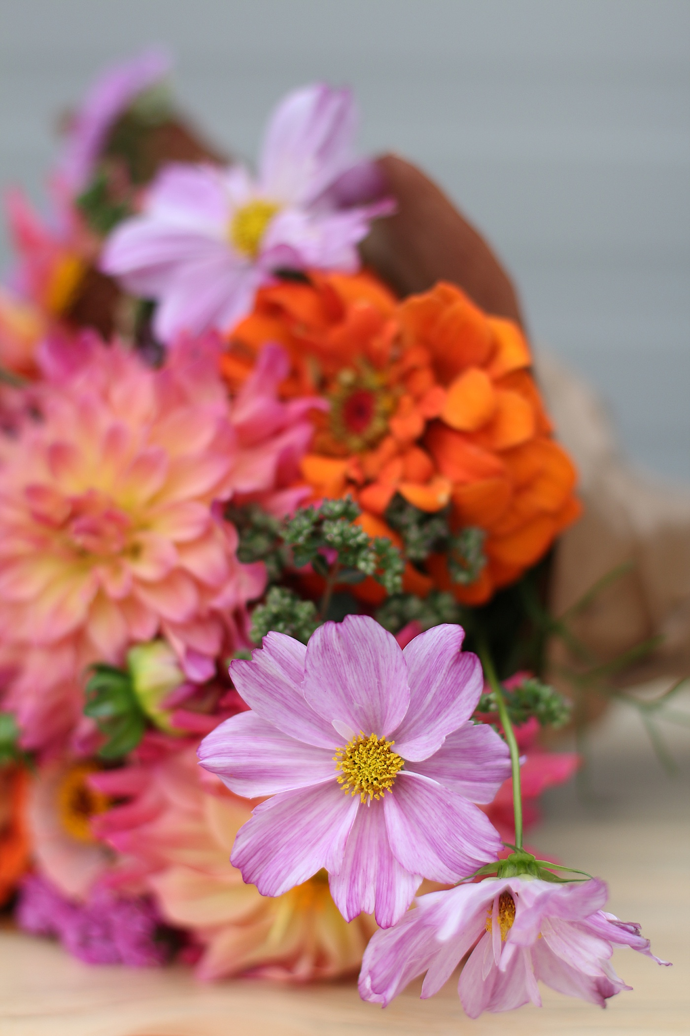 bouquet of locally grown colorful flowers