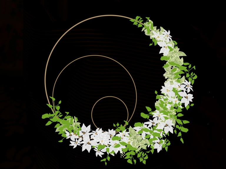 white and green Holiday wreath