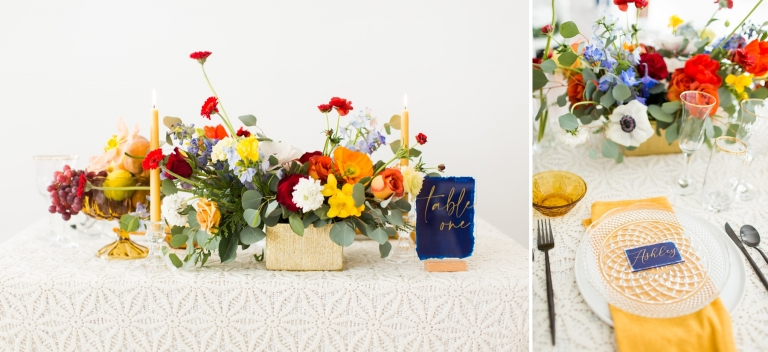 small table with colorful flowers