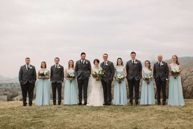 bridal party with light blue dresses