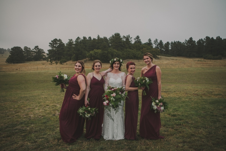 bridesmaids wearing burgundy dresses