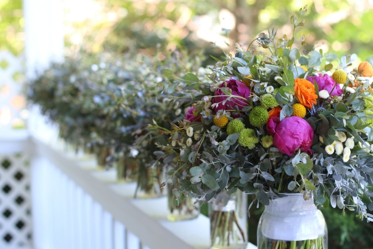 colorful bridal bouquet with eucalyptus