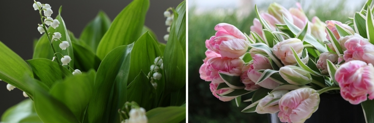 Lily of the Valley and pink tulips
