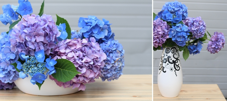 blue and purple hydrangea flower arrangements