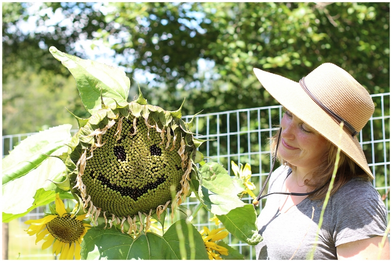 sunflower and woman