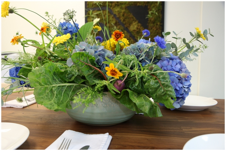 floral arrangement in a salad bowl