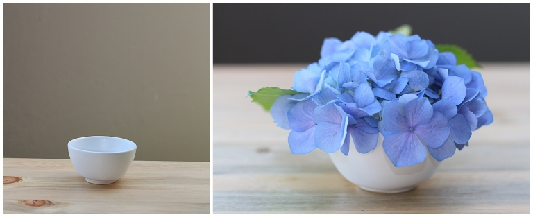 blue hydrangea in a small vase