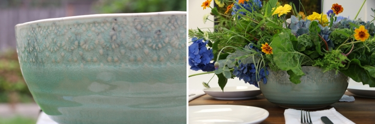blue ceramic salad bowl with flowers